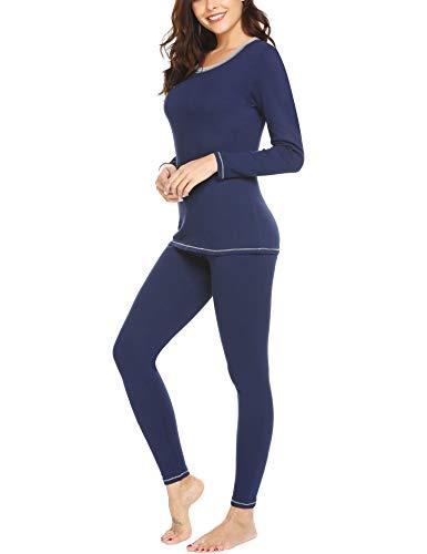 MAXMODA Women's Scoop Neck Fleece Thermal Underwear Long Johns Winter Pjs Set(Navy Blue,XXL)