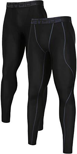 - DEVOPS Men's 2 Packs Compression Cool Dry Tights Baselayer Running Active Leggings Pants (X-Large, Black-Black)
