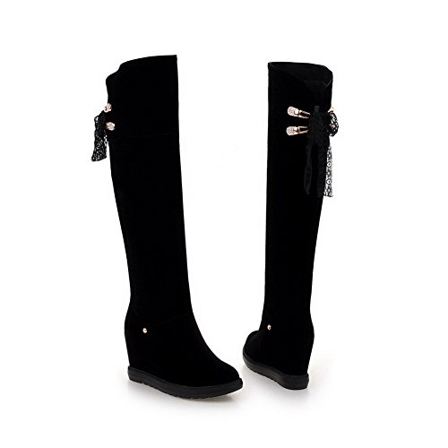 Allhqfashion Women's Lace-up Round Closed Toe High-Heels Imitated?Suede High-top Boots Black RtpmmaOM