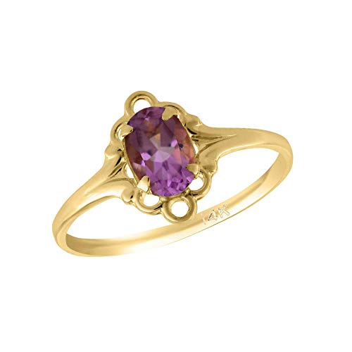 Girl 14K Yellow Gold Oval Shape June Birthstone Genuine Rhodolite Ring (size 5 1/2)