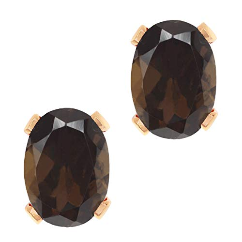(Gem Stone King 1.50 Ct Oval Shape Brown Smoky Quartz Rose Gold Plated Brass Stud Earrings)