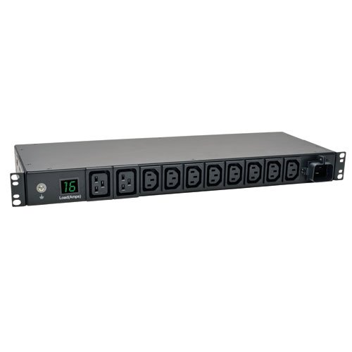 Tripp Lite Metered PDU, 3.8kW Single-Phase, 200/220/230/240V, 10 Outlets (8 C13, 2 C19) IEC-309 16A Blue, 8ft Cord, 1U Rack-Mount Power, TAA (PDUMH16HV) (Pdu Mounting Brackets)
