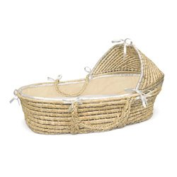 Natural Hooded Moses Basket with Ecru Waffle Bedding by Badger Basket