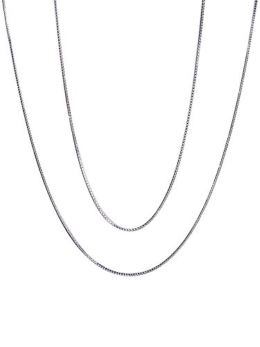 Mudder 0.8 mm Silver Plated Box Chain Necklaces, 16 Inches and 18 Inches, Silver, 2 Pieces (16