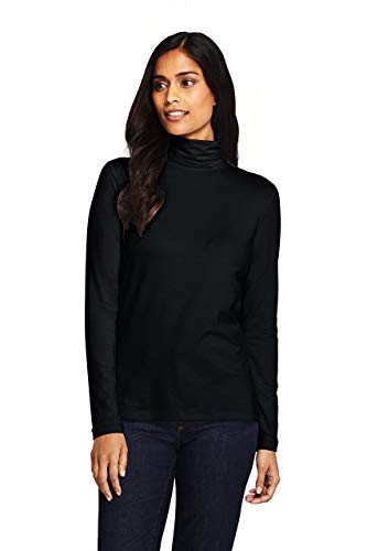 Lands' End Women's Lightweight Fitted Long Sleeve Turtleneck Black