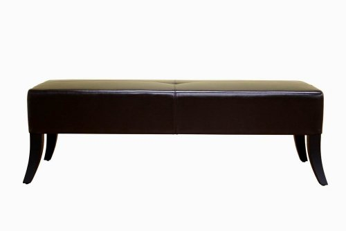 Wholesale Interiors Rectangular Ottoman - Baxton Studio Bugatti Dark Brown Leather Bench