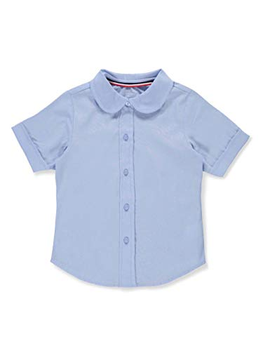 French Toast Little Girls' S/S Peter Pan Fitted Shirt - Blue, 5