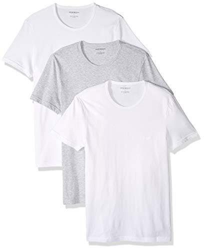 Emporio Armani Men's Cotton Crew Neck T-Shirt, 3-Pack, Grey White, Large ()