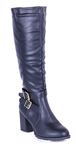 Forever Heel Boots Buckle Womens Young Double High Knee Couture xZO1FZU