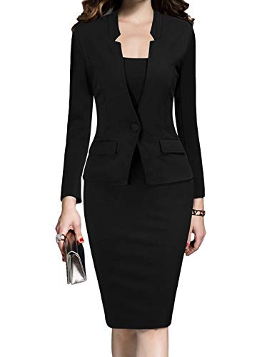 MUSHARE Women's Formal Office Business Work Business Party Bodycon One-Piece Dress Black