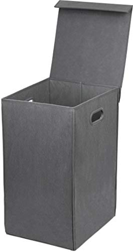 - Simple Houseware Foldable Laundry Hamper Basket with Lid, Dark Grey