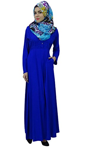 Hizab Bimba FullSleeve Vtements pour femmes Muslim Abaya avec robe Maxi de Bleu Royal rvwdrt