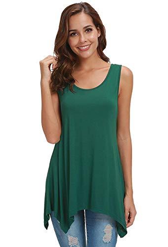 AIDIER Tank Tops Women Roundneck Casual Flowy Sleeveless Blouse Shirt (Dark-Green, ()