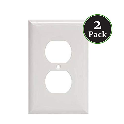 Duplex 1-Gang Device Standard Receptacle Wallplate,Mount,Wall Plates Kit, Home Electrical Outlet Cover, Unbreakable Material, Pack Dual Port Replacement Faceplates Covers White Plastic One (2) ()