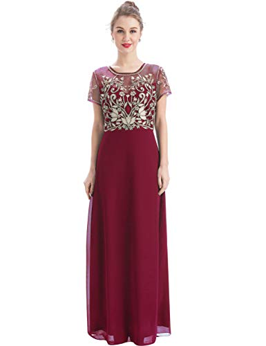 MANER Women's Fashion Chiffon Tulle Beaded Embroidered Long Evening Gowns Prom Party Dress (XL, Burgundy/Apricot) ()