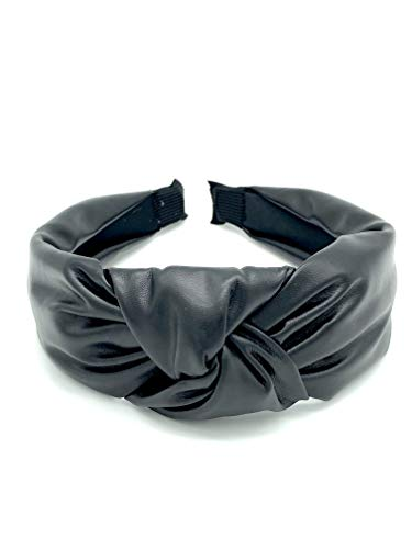 Somewhere Haute Ladies Top-knot Headband (Black Faux Leather)