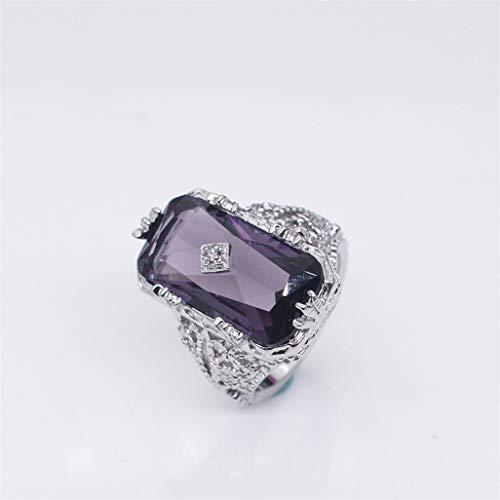 - WEILYDF Faux Gemstone Ring Simple Luxury Carved Flower Band Ring Rectangular Imitation Amethyst Princess Ring