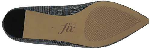 The Fix Womens Evie Military-Inspired Ankle Strap Pointed-Toe Flat Blue Plaid Textile 5yz0WCodS