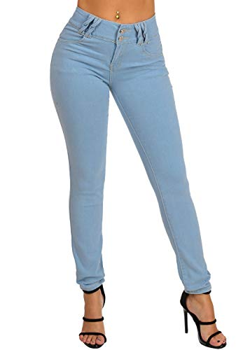 Stylish Butt Lifting Levanta Cola High Waisted 2 Button Light Wash Skinny Jeans with Back Zipper Design 10864W