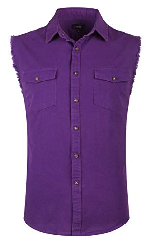 NUTEXROL Mens Sleeveless Denim/Cotton Shirt Biker Vest 2 Front Pockets Purple S