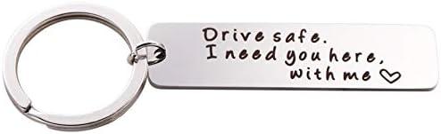 Amazon.com: Drive Safe I Need You Here with Me Keychain ...