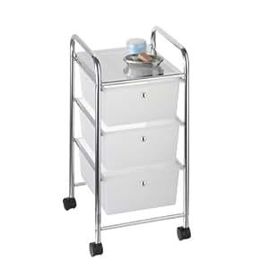 Axxentia 282150 Melina - Carrito para baño con cajones (3 cajones de plástico transparente, con ruedas, 39 x 33 x 65 cm)