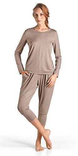 HANRO Women's Yoga Long Sleeve Top 77996, Taupe Grey, Small ()