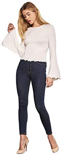 cupcakes and cashmere Women's Kamala Rib Knit Bell Sleeve w/Hem Details, Oatmeal, Small