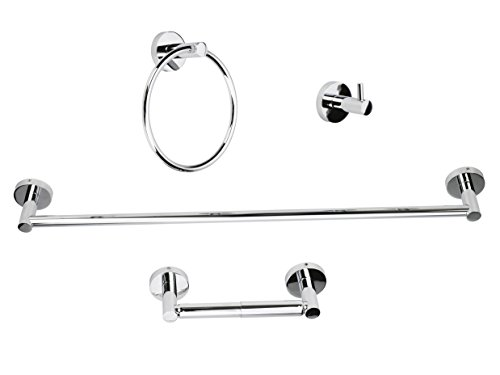 Luckup Four Piece Bath Hardware Towel Bar Accessory 304 Stainless Steel Set, Includes 24