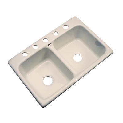Newport Drop-in Acrylic 33x22x9 5-Hole Double Bowl Kitchen Sink in Fawn Beige