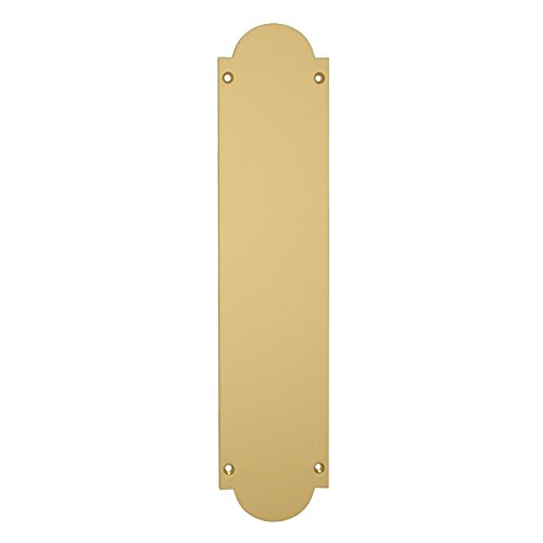 Door Push Plate Traditional Shaped 300x75mm in Solid Polished Brass EUROART