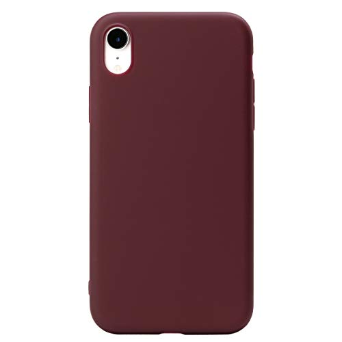 INFOR Ultra-Thin Soft Touch Anti-Scratch Anti-Fingerprint Matte TPU Protect Cover Compatible iPhone iPhone XR Case (Burgundy)