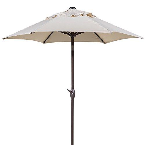Abba Patio 7-1/2 ft. Round Outdoor Market Patio Umbrella with Push Button Tilt and Crank Lift, Beige 8' Patio Umbrella