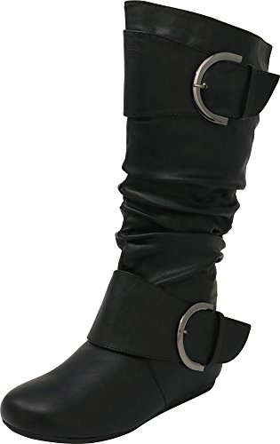 (Cambridge Select Slouchy Pull On Mid Calf Round Toe Buckle Boot (6.5 B(M) US, Black))