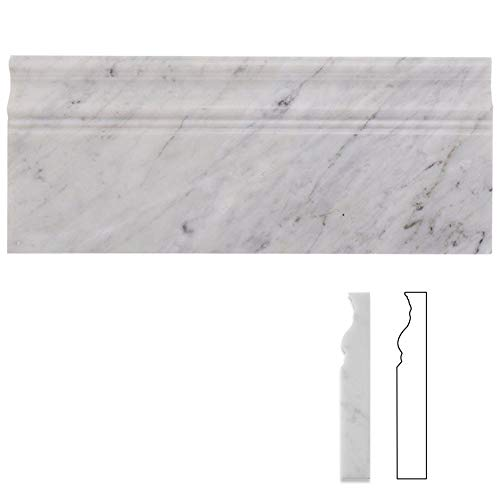 Diflart Carrara White Italian Bianco Carrera Marble 5x12 Baseboard Trim Molding Polished Pack of 5