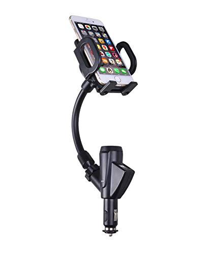 SUPPORT Soporte para teléfono para Encendedor de Cigarrillos 2-en-1 Soporte de Soporte Flexible Cargador USB Doble Rotación...