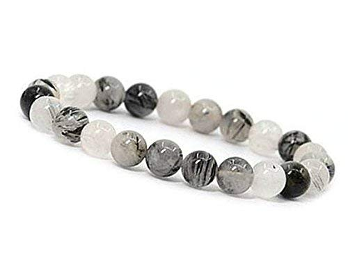 10mm Rutile Quartz Bracelet, Tourmalinated Quartz Bracelet, Black Rutilated Quartz Bracelet, Rutilated Quartz Jewelry, Unisex Quartz Jewelry by Gemswholesale