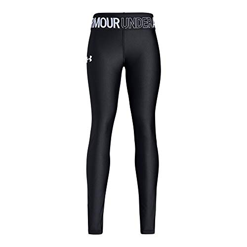 Girls Coldgear Legging (Under Armour Girls Armour Heatgear Legging, Black (001)/White, Youth Large)