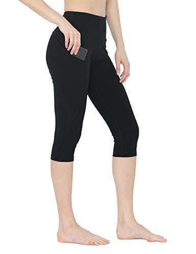 - Rocorose Women Yoga Capris High Waist Skinny Fit Workout Running 4 Way Stretch Yoga Leggings with Pockets Black S