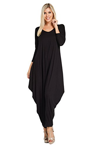 Annabelle Women's Long Sleeve Comfy Harem Jumpsuit Romper with Pockets Black XX-Large J8002X (2)