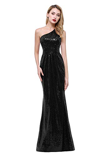 karever Women's Sequined Long Bridesmaid Dresses One Shoulder Pleat Black Wedding Party Gown