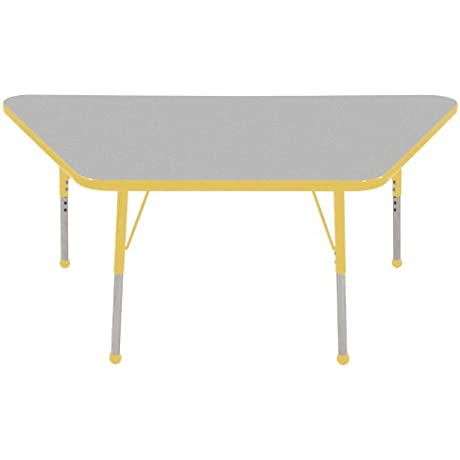 ECR4Kids Classroom 30 X 60 Adjustable Trapezoid Activity Table Grey Yellow Standard Leg Ball Glide