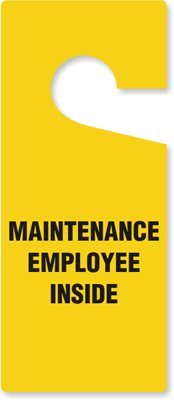 SmartSign''Maintenance Employee Inside'' Pack of 6 Claw Shaped Door Hanger Tags | 3.75'' x 8.875'' Plastic by SmartSign