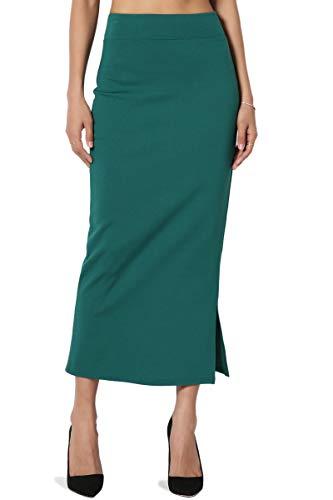 TheMogan Women's Side Slit Ponte Knit High Waist Mid-Calf Pencil Skirt Green 1XL