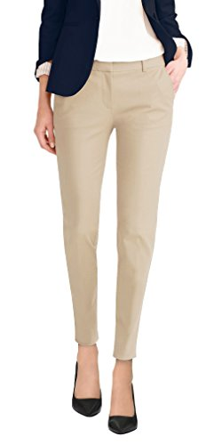 Flat Front Petite Trousers - HyBrid & Company Super Comfy Flat Front Stretch Trousers Pants PW31200TT Light Khak 3