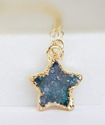 Small Blue Druzy Star Pendant Gold Filled Necklace - 16