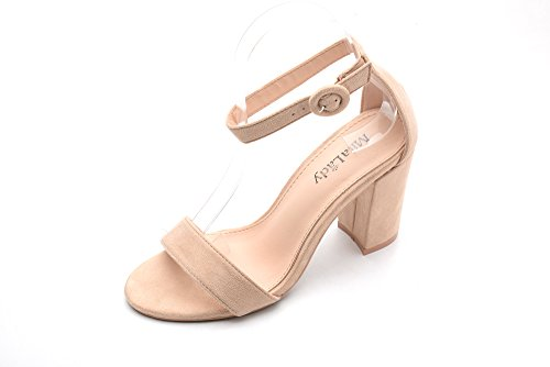 - Ankle Strap Adjustable Buckle Block Chunky Heeled Sandals Shoes with Soft Padded Insole for Women, LULA Nude Size 8.5