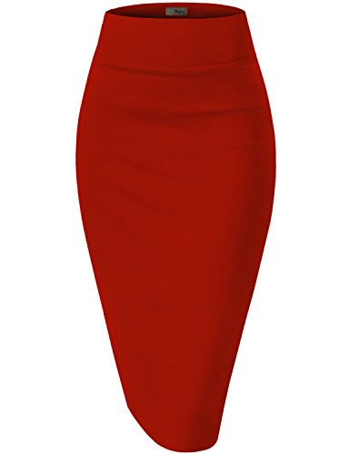 Womens Premium Stretch Office Pencil Skirt KSK45002 RED Large