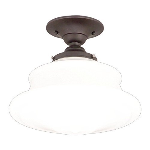 Hudson Valley Lighting Petersburg 1-Light semi Flush – Old Bronzo Finish with Opal Glossy Glass Shade by Hudson Valley Lighting