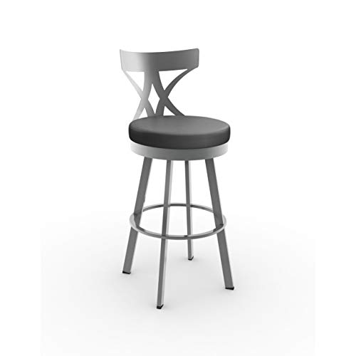 (Amisco Washington Swivel Bar Stool in Glossy Grey Finish)